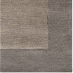 Hand-crafted Grey Tone-On-Tone Bordered Wool Rug (9'9 Square) - Thumbnail 1