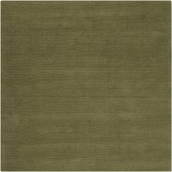 Hand-crafted Solid Green Casual Ridges Wool Rug (8' Square) - Thumbnail 2
