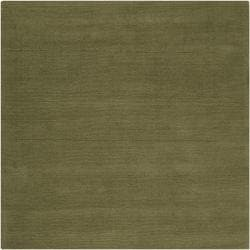 Hand-crafted Solid Green Casual Ridges Wool Rug (9'9 Square) - Thumbnail 1