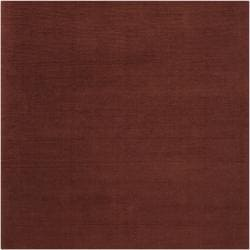 Hand-crafted Rust Red Solid Casual Ridges Wool Rug (9'9 Square)