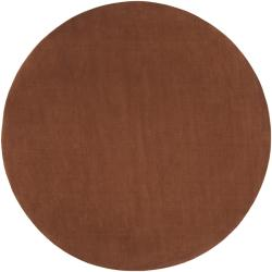 Hand-crafted Brown Solid Casual Ridges Wool Rug (6' Round)