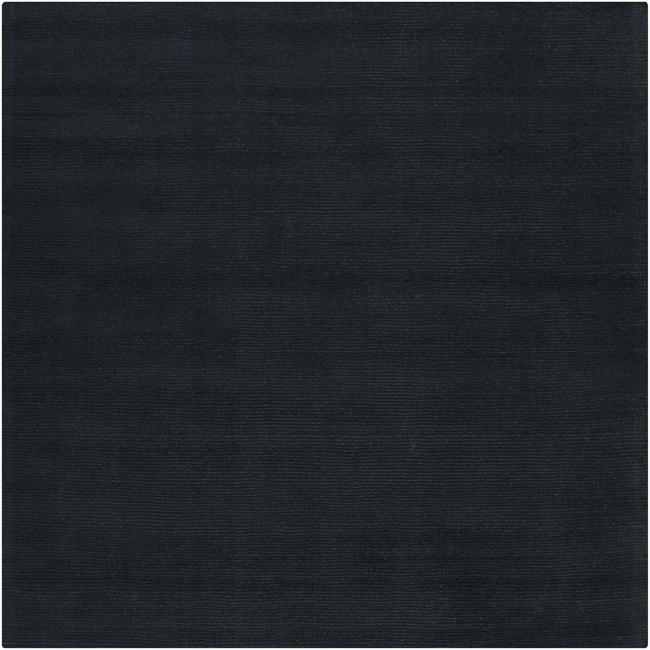 Hand-crafted Navy Blue Solid Causal Ridges Dark Wool Rug (9'9 Square)