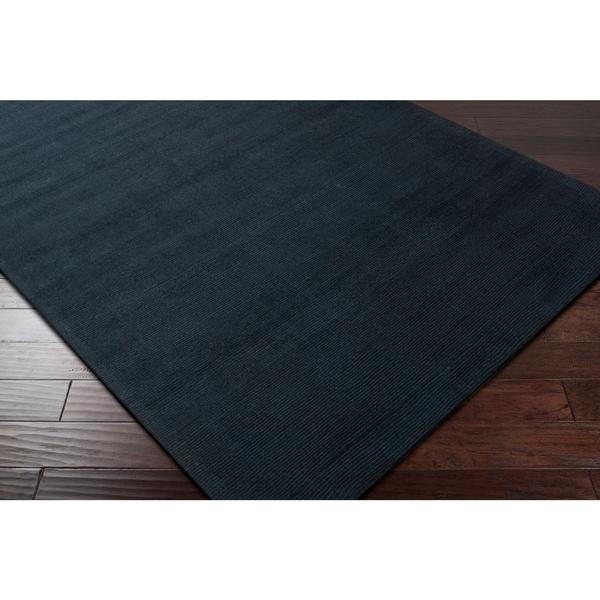 Hand-crafted Navy Blue Solid Causal Ridges Dark Wool Area Rug - 9'9
