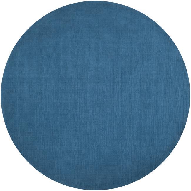 handcrafted teal blue solid casual ridges wool rug ' round, 6' round teal rug, large round teal rug, round rug teal multi