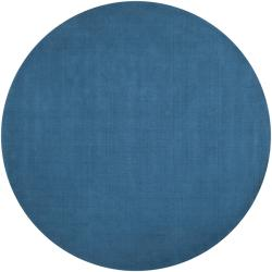 Hand-crafted Teal Blue Solid Casual Ridges Wool Rug (6' Round)