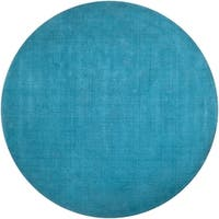 Hand-crafted Teal Blue Solid Casual Ridges Wool Area Rug - 8'