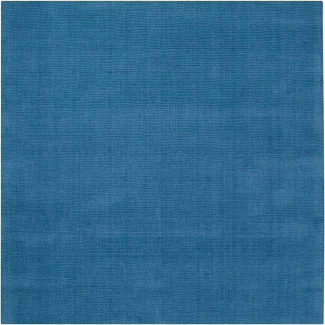 Hand-crafted Teal Blue Solid Casual Ridges Wool Area Rug
