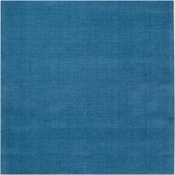 Hand-crafted Teal Blue Solid Casual Ridges Wool Rug (8' Square) - Thumbnail 1