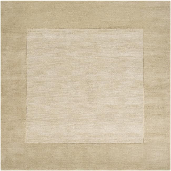 Hand-crafted Beige Tone-On-Tone Bordered Wool Rug (8' Square)
