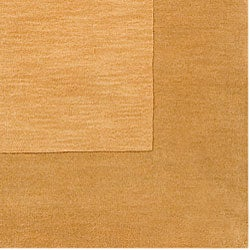 Hand-crafted Gold Tone-On-Tone Bordered Wool Rug (8' Square) - Thumbnail 1