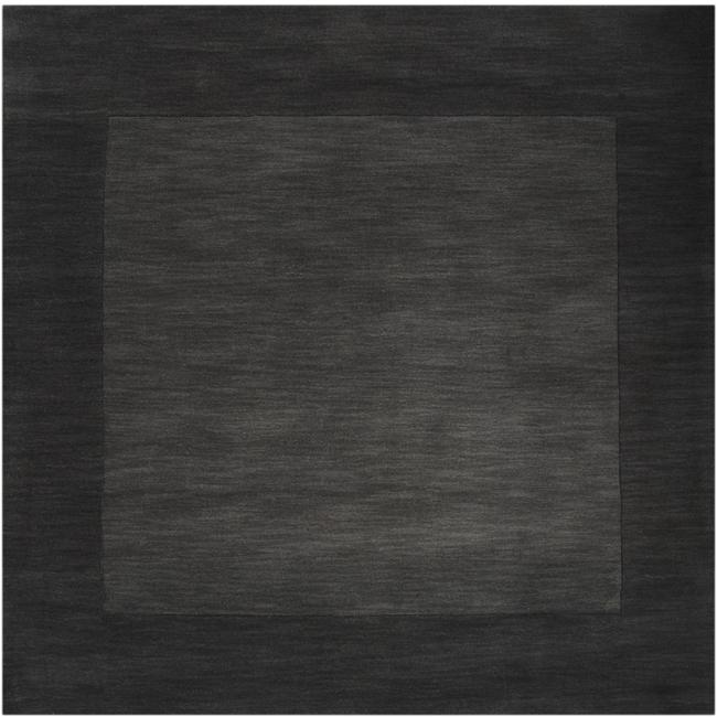 Hand-crafted Black Tone-On-Tone Bordered Wool Rug (8' Square)