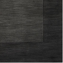 Hand-crafted Black Tone-On-Tone Bordered Wool Rug (8' Square) - Thumbnail 1