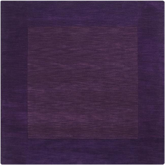 Hand-crafted Purple Tone-On-Tone Bordered Wool Rug (8' Square)