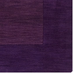 Hand-crafted Purple Tone-On-Tone Bordered Wool Rug (8' Square) - Thumbnail 1