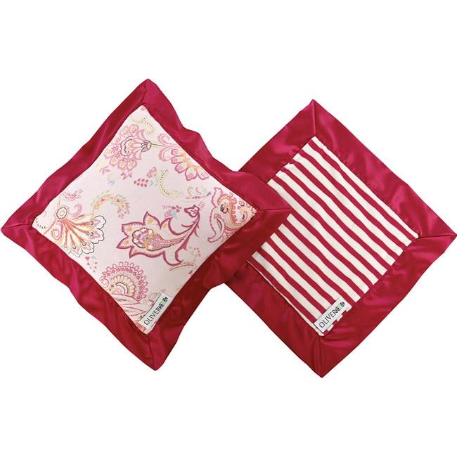 Oliver B Fuchsia and White Mini Travel Blanket and Pillow Set