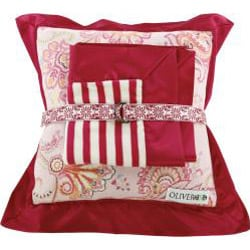 Oliver B Fuchsia and White Mini Travel Blanket and Pillow Set - Thumbnail 1