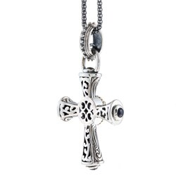 14k Gold over Round-cut Sterling Silver Amethyst and Sapphire Cross Necklace