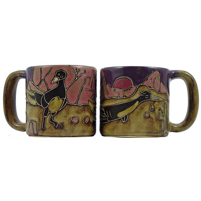 Set of 2 Mara Stoneware 16-oz Roadrunner Mugs (Mexico)