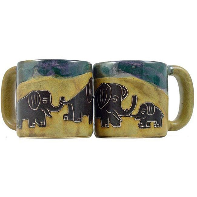 Set of 2 Mara Stoneware 16-oz Elephants Mugs (Mexico)