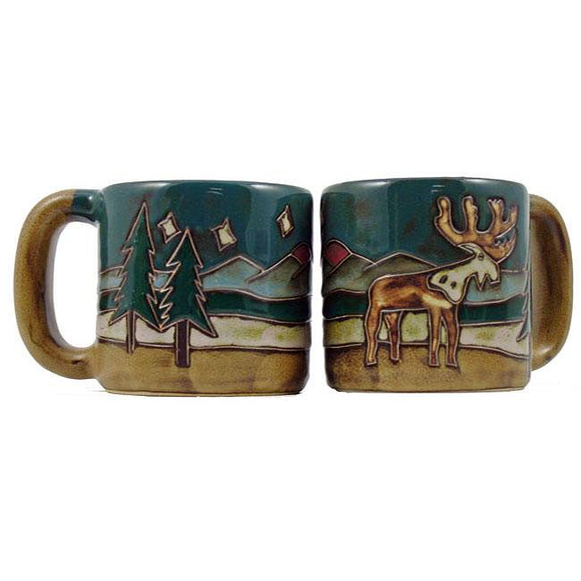 Set of 2 Mara Stoneware 16-oz Elk Mugs (Mexico)