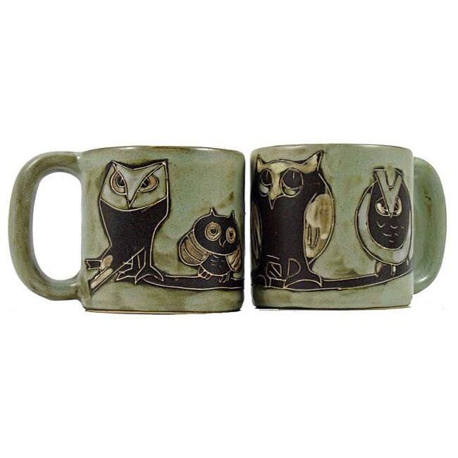 Set of 2 Mara Stoneware 16-oz Owls Mugs (Mexico)