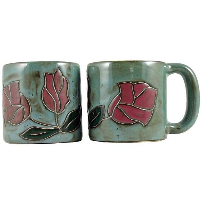 Set of 2 Mara Stoneware 16-oz Red Rose Mugs (Mexico)