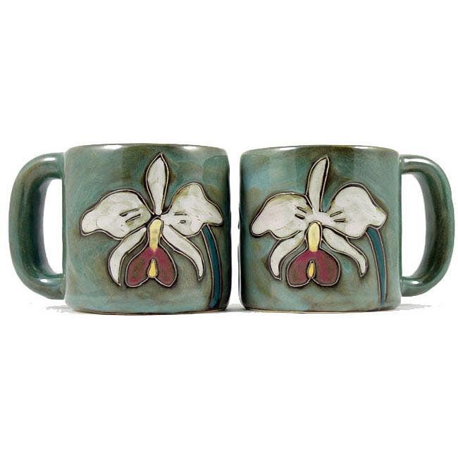 Set of 2 Mara Stoneware 16-oz Orchid Mugs (Mexico)