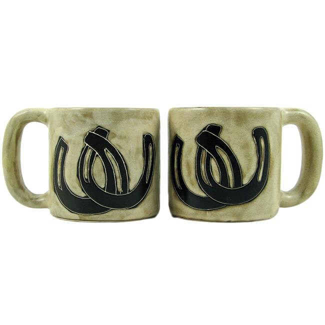 Set of 2 Mara Stoneware 16-oz Horseshoes Mugs (Mexico)