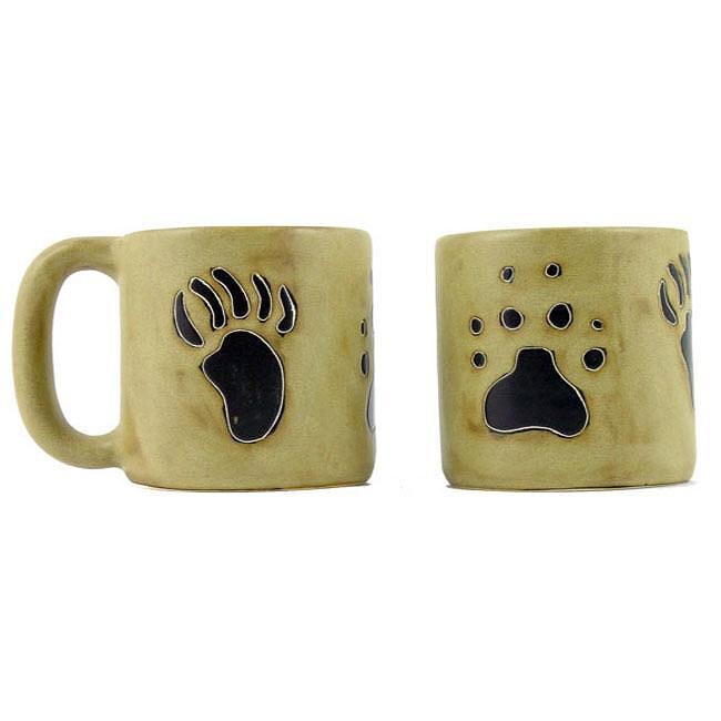 Set of 2 Mara Stoneware 16-oz Bear/ Wolf Paw Mugs (Mexico)