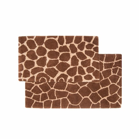 Chesapeake Safari 2pc Chocolate & Beige Giraffe Bath Rug Set