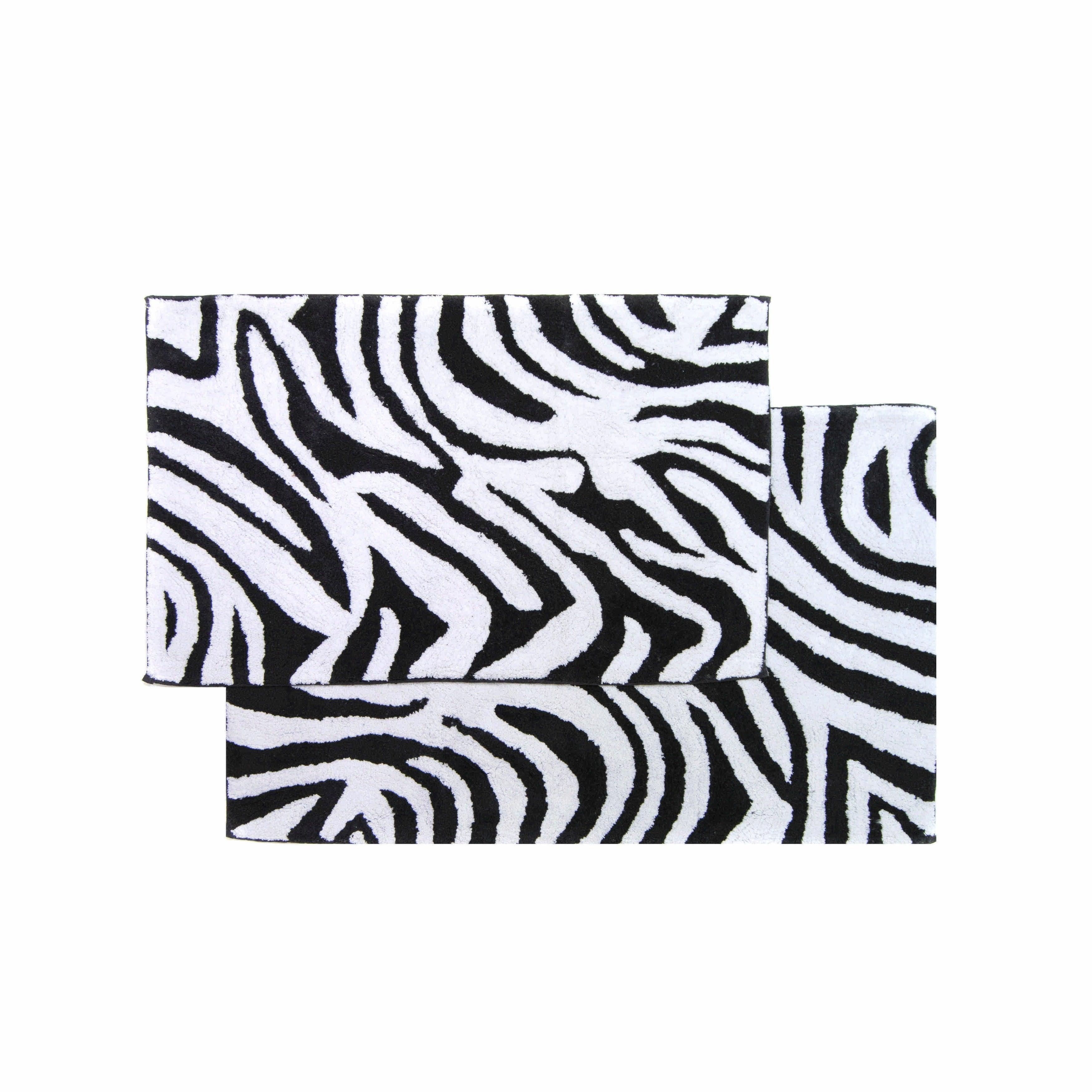 Black White Zebra Bath Rug Set 21 X34