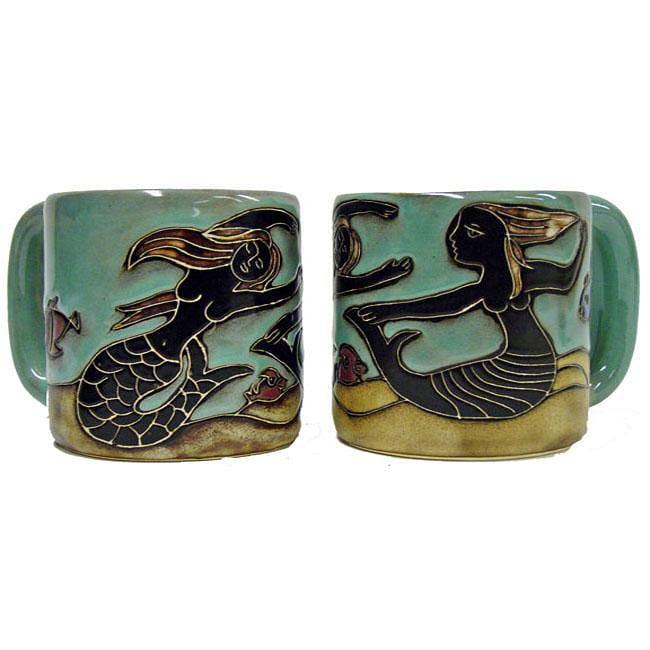 Set of 2 Mara Stoneware 16-oz Mermaids Mugs (Mexico)