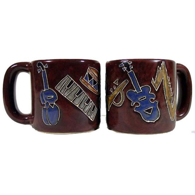 Set of 2 Mara Stoneware 16-oz Music Instruments Mugs (Mexico)