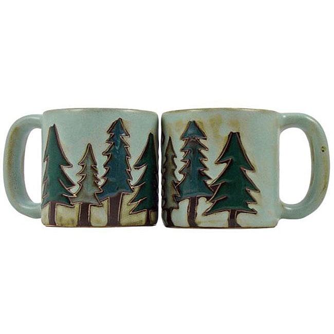 Set of 2 Mara Stoneware 16-oz Pine Tree Mugs (Mexico)