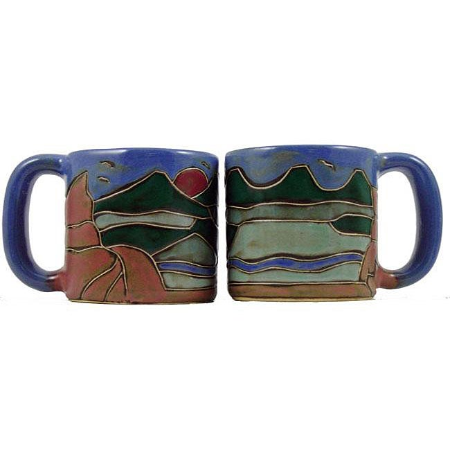 Set of 2 Mara Stoneware 16-oz Mountain Mugs (Mexico)