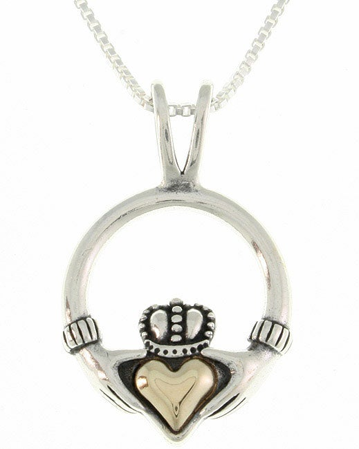 Carolina Glamour Collection 14-kt. Gold and Silver Claddagh Pendant