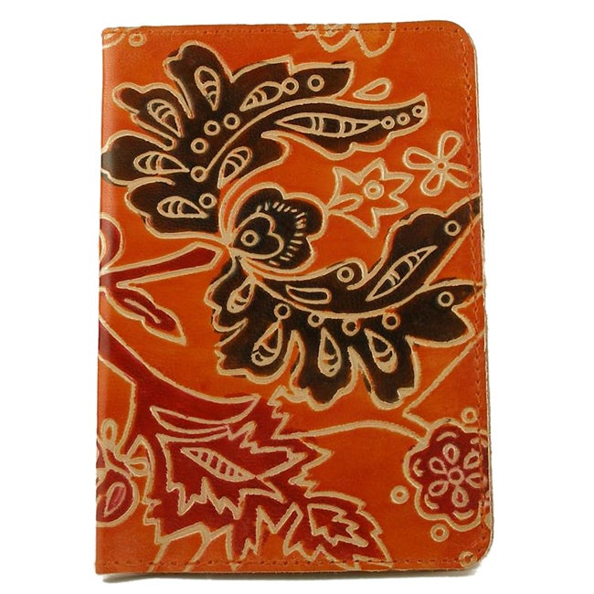 Handmade Leather Tangerine Vines Passport Cover (India)