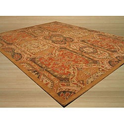 Hand-tufted Wool Gold Transitional Floral Piazza Rug (4' x 6') - Thumbnail 1