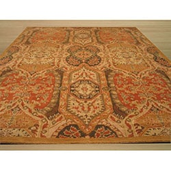 Hand-tufted Wool Gold Transitional Floral Piazza Rug (4' x 6') - Thumbnail 2