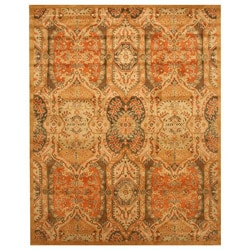 """Hand-tufted Wool Gold Transitional Floral Piazza Rug (4' x 6') - 3'6"""" x 5'6"""" - Thumbnail 0"""