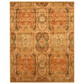 """Hand-tufted Wool Gold Transitional Floral Piazza Rug (4' x 6') - 3'6"""" x 5'6"""""""