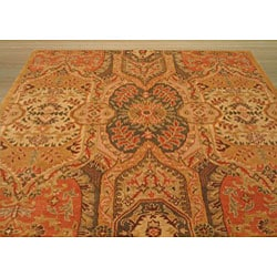 EORC Hand-tufted Wool Gold Piazza Rug (6' Square)
