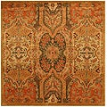 Hand-tufted Wool Gold Transitional Floral Piazza Rug (6' Square)