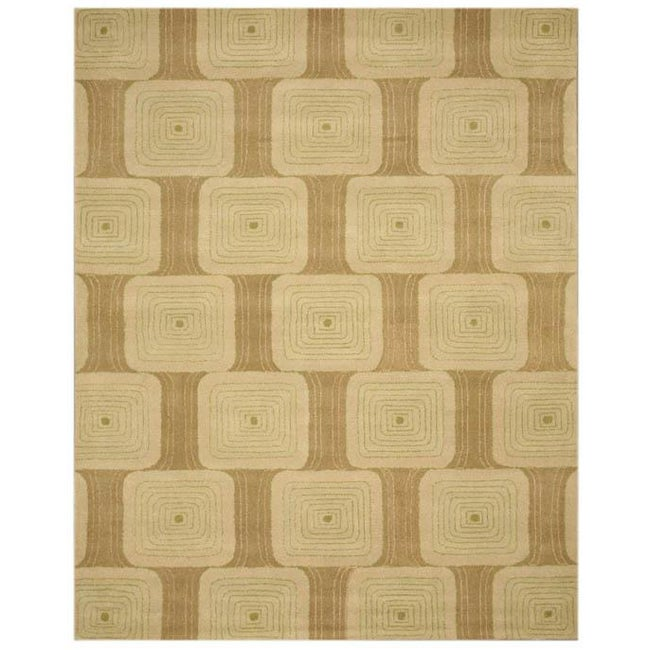 Hand-tufted Green Abstract Wool Rug (7'9 x 9'9)