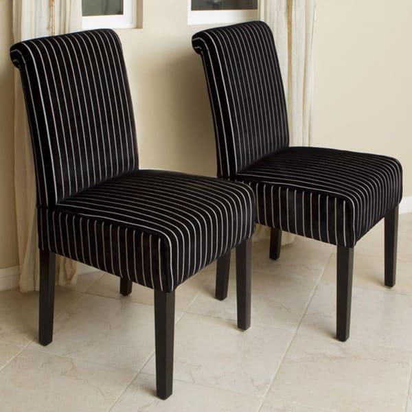 Black White Floral Dining Side Chair Set: Shop Black/ White Striped Rolled-Back Dining Chairs (set