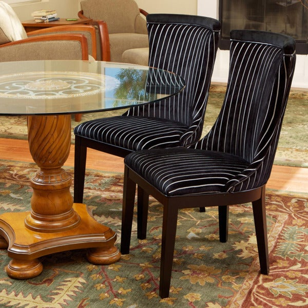 Black/ White Striped Hourglass-shaped Dining Chairs (Set