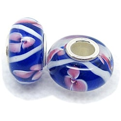 Murano Inspired Glass Blue/White/Pink Flower Charm Beads (Set of 2)