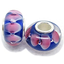 Murano Inspired Glass Blue and Pink Charm Beads (Set of 2)