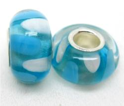 Murano Inspired Glass Sky Blue and White Charm Beads (Set of 2)
