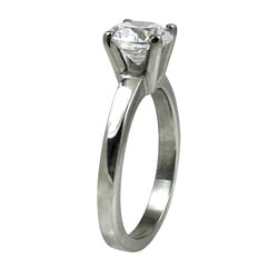 Polished Stainless-Steel Cubic Zirconia Solitaire Ring - Thumbnail 1